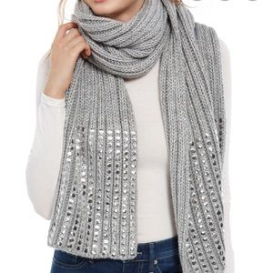 DKNY Grey Scarf  with studs , New with tags